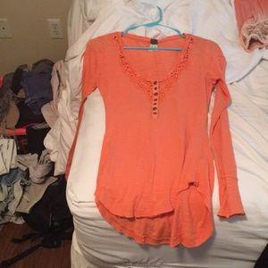 Free people orange long sleeve top